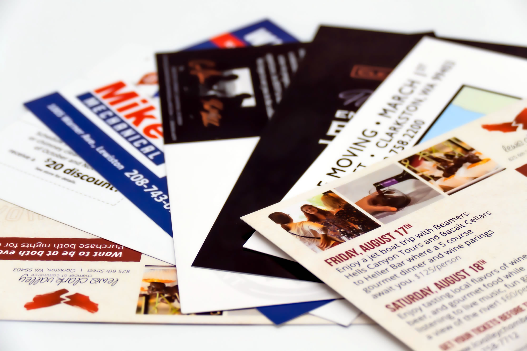 Recently produced direct mail postcards